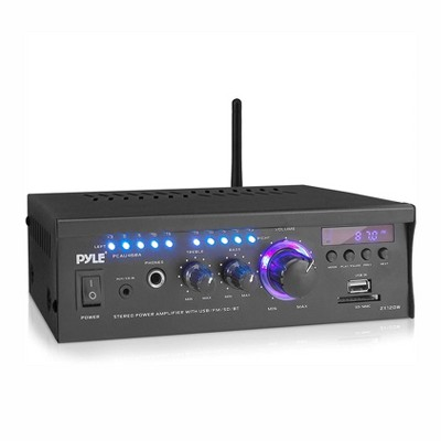 Pyle PCAU46BA 2x120 Watt Bluetooth Home Audio Speaker Amplifier Receiver System with Blue LED Display, Headphone Jack, and Remote Control, Black