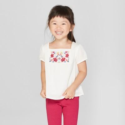 Toddler Girls' Short Sleeve Blouse - Genuine Kids® from OshKosh Almond Cream 18M
