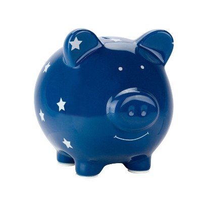 Pearhead Decorative Ceramic Piggy Bank - Blue
