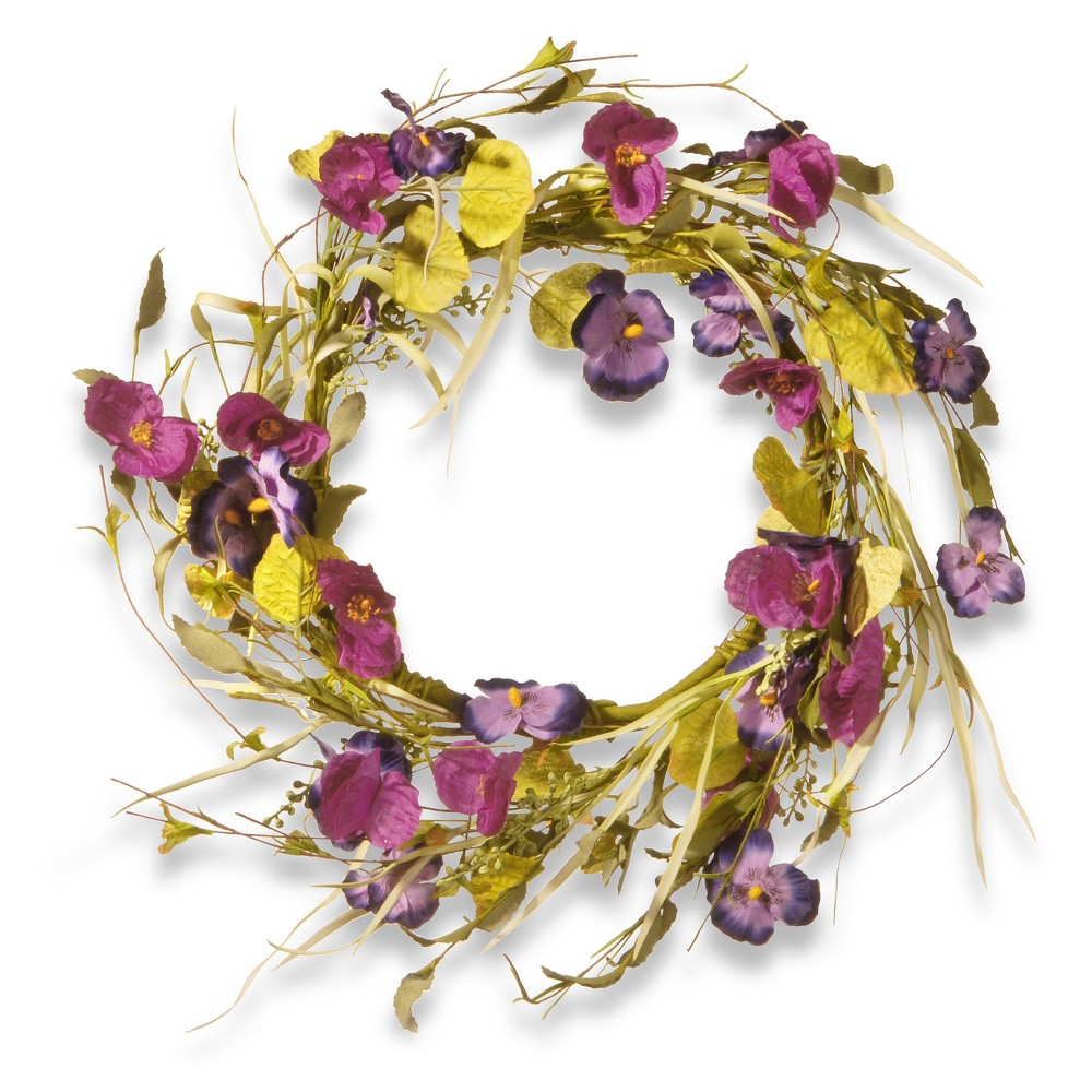 Artificial Poppy and Pansy Wreath Purple 22 - National Tree Company