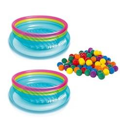 Intex 100 Pack Multi-Colored Fun Ballz & Inflatable Jump-O-Lene Bouncer (2 Pack)