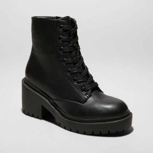 Women's Brie Faux Leather Lace Up Combat Boot - Universal Thread™ Black - image 1 of 4