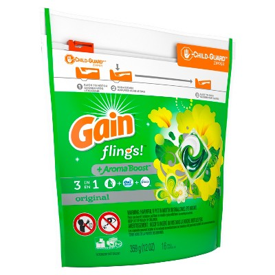 Gain Flings Original Laundry Detergent Pacs 16 ct