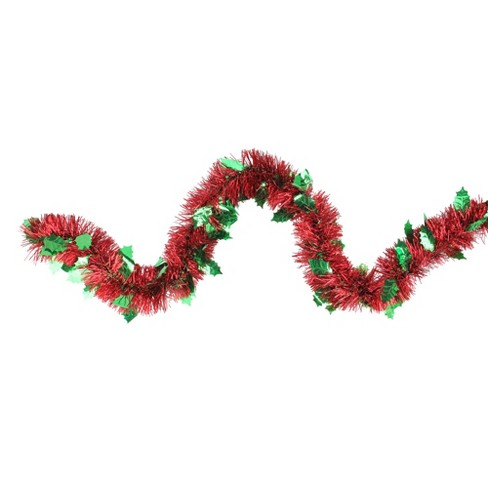Christmas Leaves.Northlight 12 X 4 Unlit Shiny Red Tinsel With Green Holly Leaves Christmas Garland