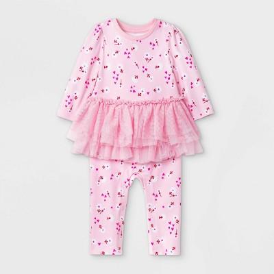 Baby Girls' Floral Tutu Romper - Cat & Jack™ Pink 6-9M