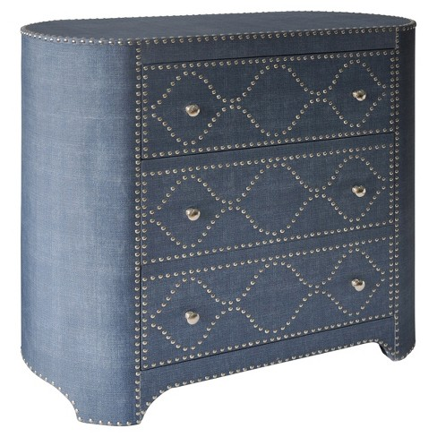 3 Drawer Oval - Shaped Cabinet with Chrome Nailhead Trim - Blue - Stylecraft - image 1 of 1