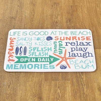 Lakeside Welcome to the Beach Memory Foam Rug with Coastal Icons and Sentiments