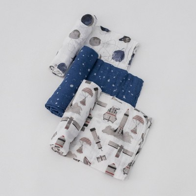 Little Unicorn Cotton Muslin Swaddle Blankets - 3pk Ground Control