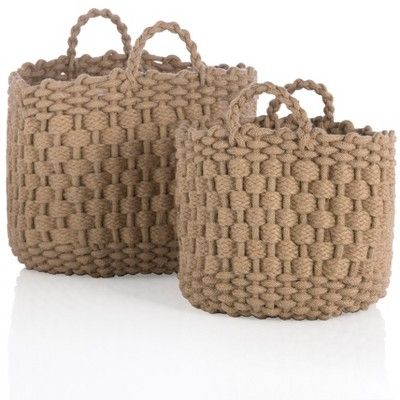 Assorted Set Of 2 Round Dharma Baskets  - Brown - Shiraleah