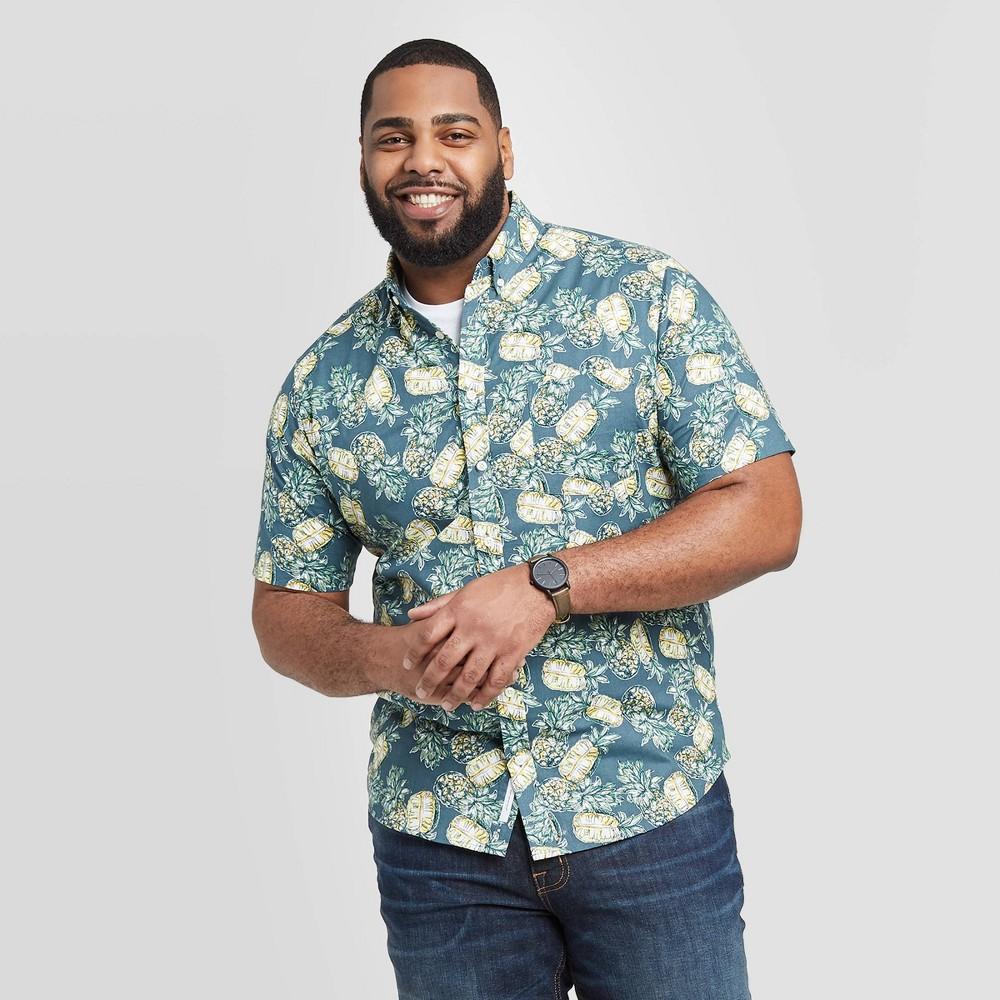 Men's Tall Standard Fit Pipeapple Print Short Sleeve Poplin Button-Down Shirt - Goodfellow & Co Dark Blue MT, Men's was $19.99 now $12.0 (40.0% off)