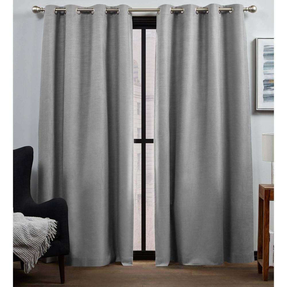 "Set of 2 84""x52"" Bensen 100% Blackout Grommet Top Curtain Panel Gray - Exclusive Home"