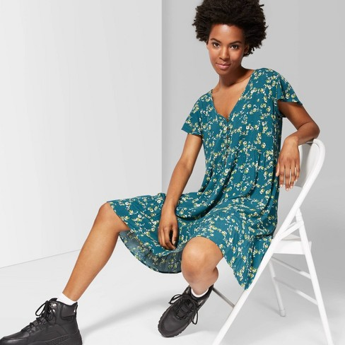 Women's Floral Print Short Sleeve V-Neck Button Front A Line Dress - Wild Fable™ Teal - image 1 of 3