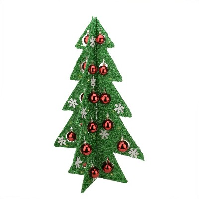 """Northlight 28"""" Prelit Artificial Christmas Tree Battery Operated Table Top Green Tinsel"""