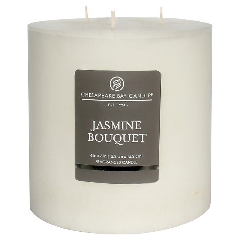 Satin Pillar Candle Jasmine Bouquet - Chesapeake Bay Candle - image 1 of 1