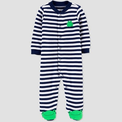 Baby Boys' Stripe Frog 1pc Pajama - Just One You® made by carter's Blue Newborn