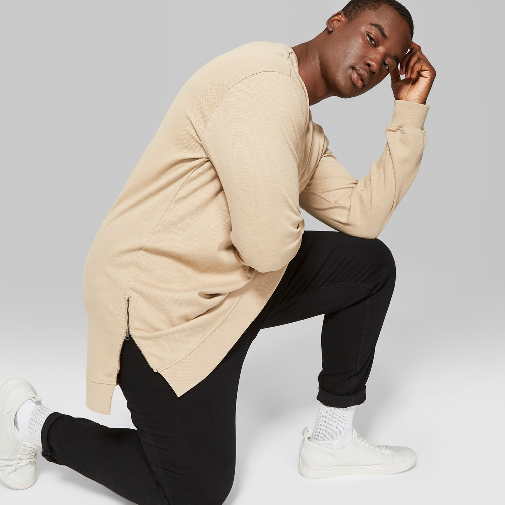 Men 39 S Big 38 Tall Long Sleeve Textured Side Zip Pullover Crewneck T Shirt Original Use 8482 Brown Taupe 5xb