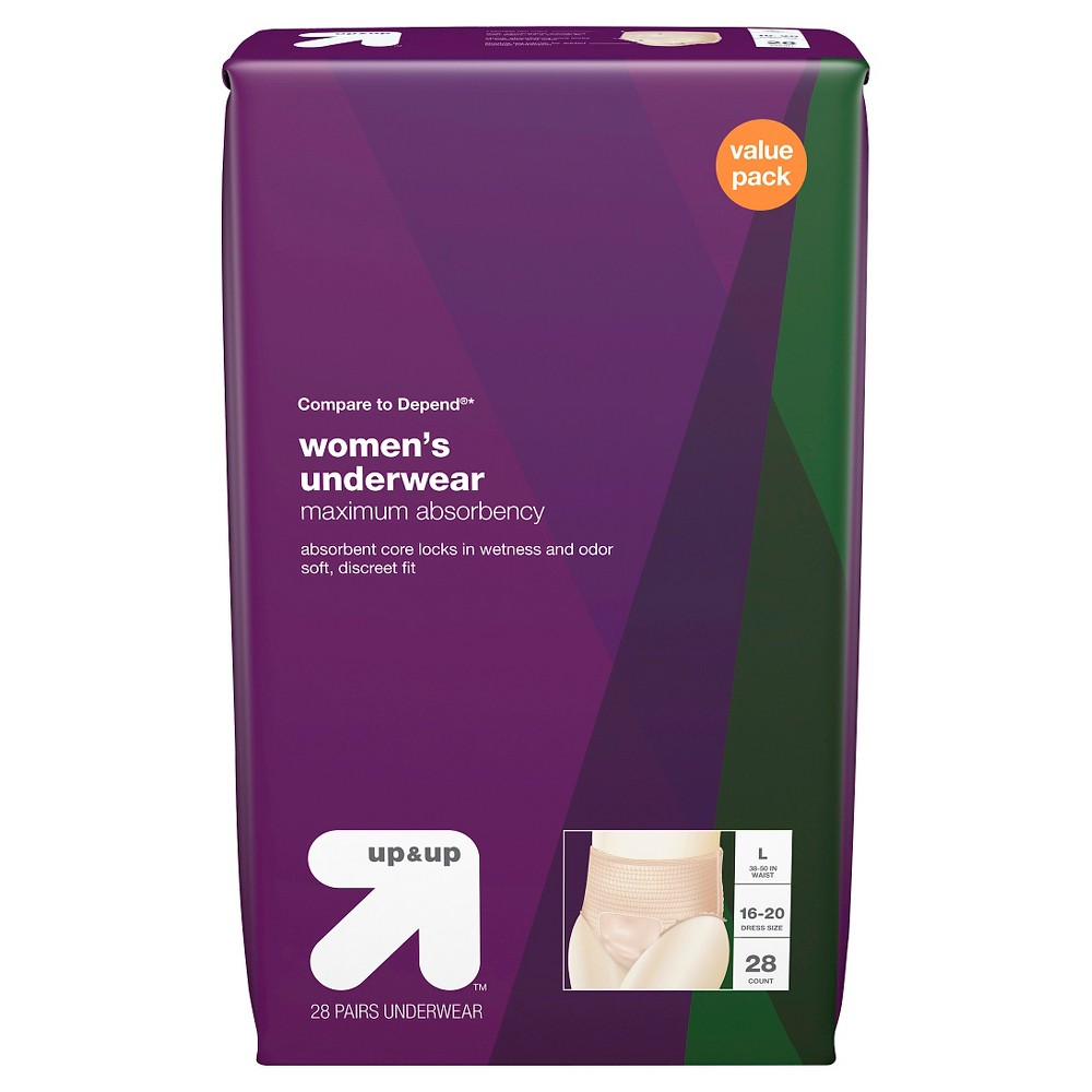 Incontinence Underwear for Women, Maximum Absorbency Large, 28ct- Up&Up (Compare to Depend), Clear
