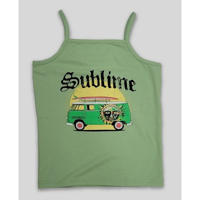 Women's Sublime Logo Cropped Graphic Tank Top - Green