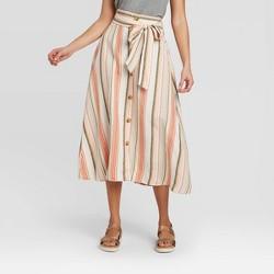 Women's High-Rise Button-Front Linen Skirt - A New Day™