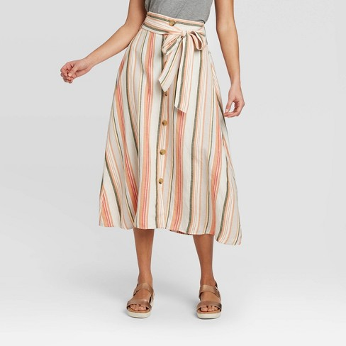 Women's High-Rise Button-Front Linen Skirt - A New Day™ - image 1 of 3
