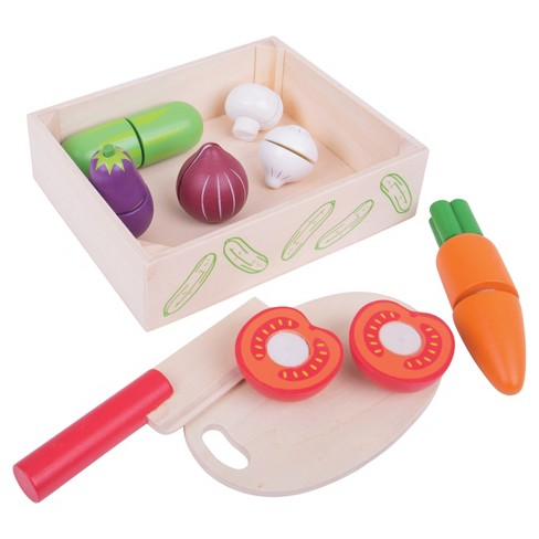 Bigjigs Toys Cutting Veg Crate Wooden Role Play Toy - image 1 of 2