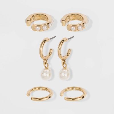 SUGARFIX by BaubleBar Delicate Huggie Hoop Earring Set - Pearl
