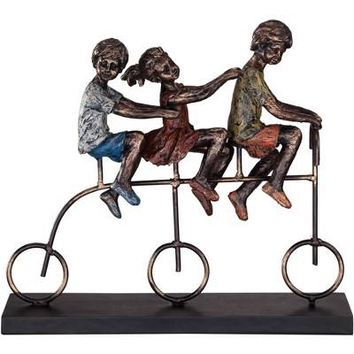 "Dahlia Studios Children Riding Bike 12 3/4"" Wide Sculpture"