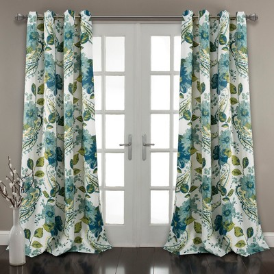 Set of 2 Floral Paisley Room Darkening Window Curtain Panel Blue - Lush Décor