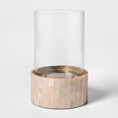 """10"""" x 6.7"""" Glass Pillar Candle Holder With Resin Inlay - Opalhouse™"""