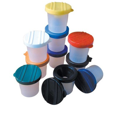 Creativity Street No-Spill Round Cup Plastic Paint Pot Set with Assorted Colored Lids, 3 Inches Wide, Translucent, set of 10