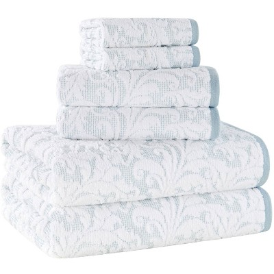 6pc Jacquard Bath Towel Set Blue/White - Alfred Sung Home