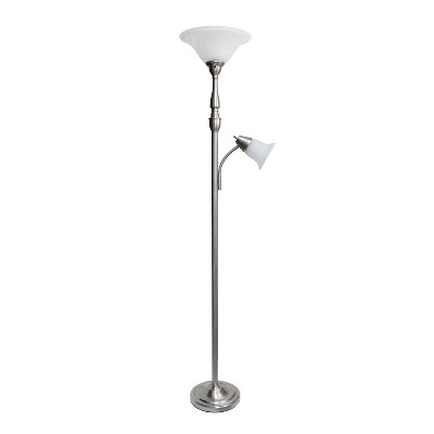 "71"" 3-way 2 Light Mother Daughter Floor Lamp Brushed Nickel - Elegant Designs"