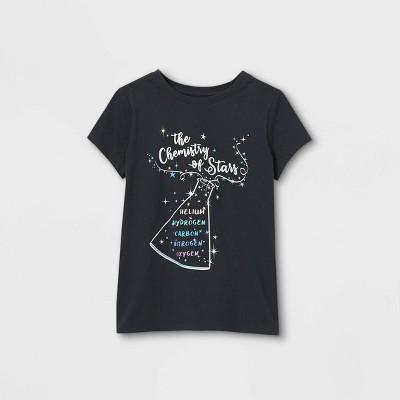 Girls' Chemistry of Stars Graphic Short Sleeve T-Shirt - Cat & Jack™ Charcoal Gray