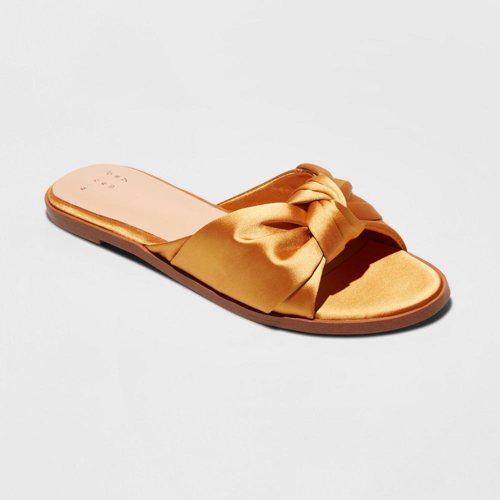 Women's Stacia Wide Width Knotted Satin Slide Sandals- A New Day Yellow 5W, Size: 5 Wide