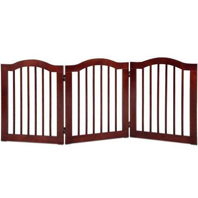Costway 24''/36'' 3 Panel Folding Freestanding Wood Pet Dog Safety Gate Z Shape Fence Doorway