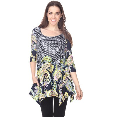 Women's 3/4 Sleeve Printed Teagan Tunic with Pockets - White Mark