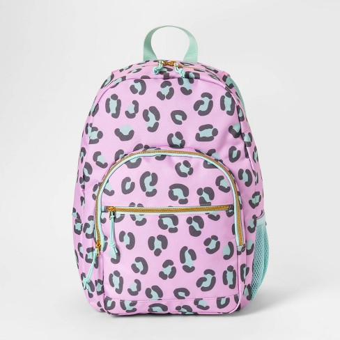 "17"" Cat Paw Print Kids' Backpack Pink/Light Green - Cat & Jack™ - image 1 of 3"