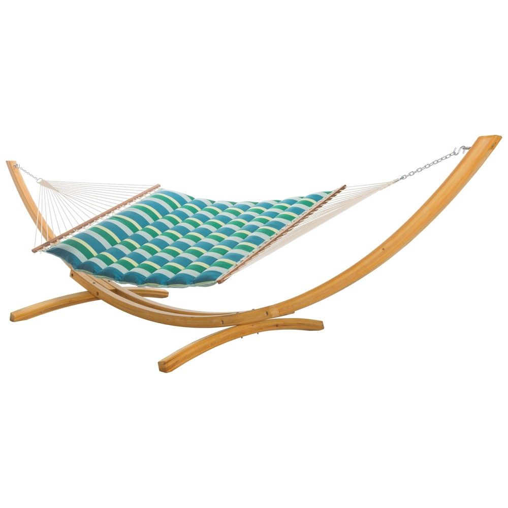 Image of Pillowtop Hammock - Turquoise/Green Stripe - Hatteras Hammocks