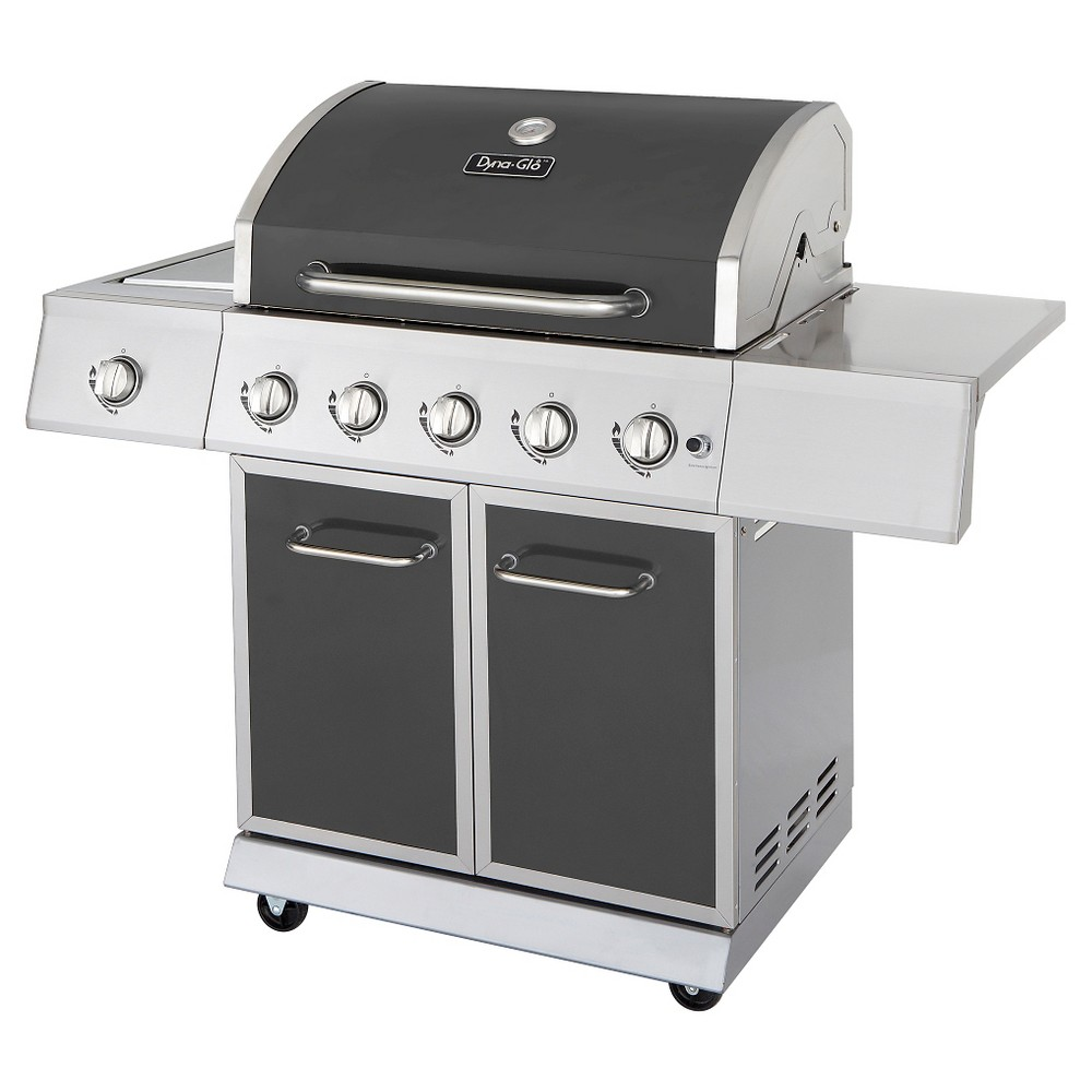 Dyna-Glo 5 Burner Propane Gas Grill with Side Burner, Grey 50024098