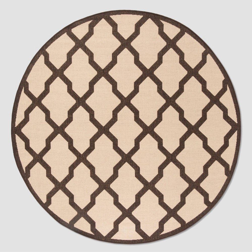 6 39 7 34 Round Patio Rug Cream Brown Safavieh