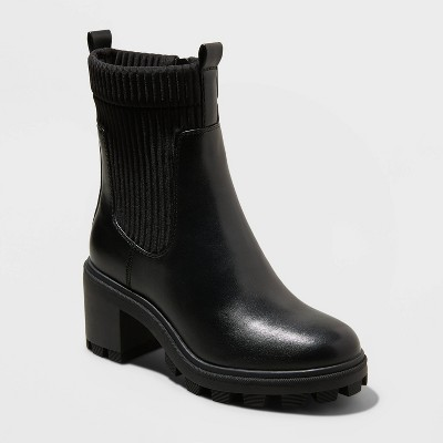 Women's Natasha Lug Soled Sock Boots - A New Day™ Black