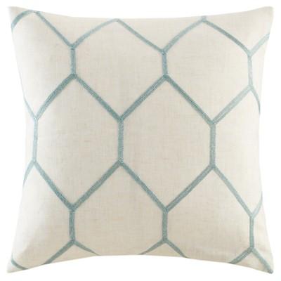 20 x20  2pk Geometric Embroidered Throw Pillow Aqua