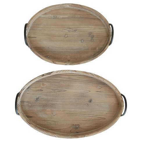 """Decorative Wood Trays with Metal Handles (S-2 21""""L x 13-1-2"""") - image 1 of 3"""