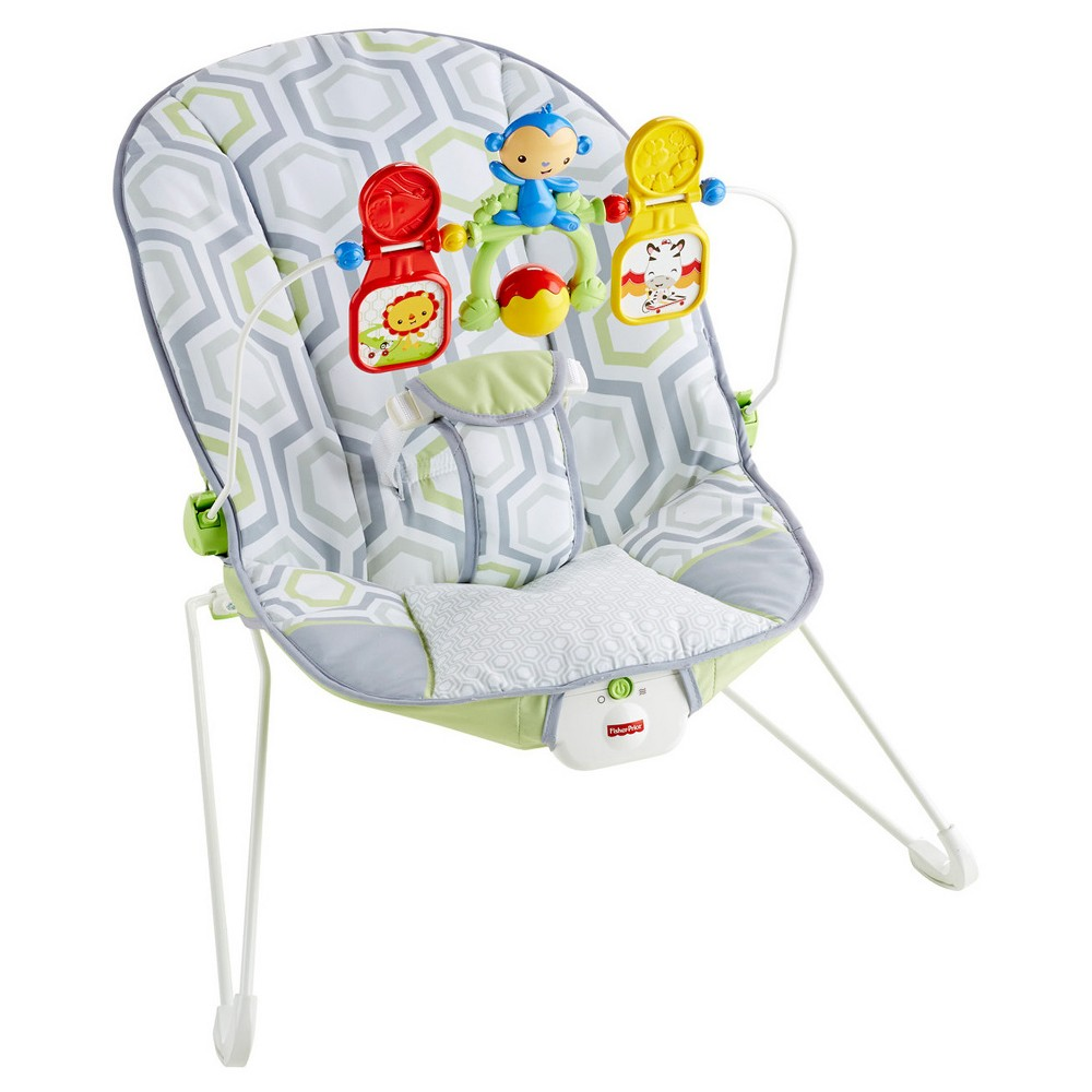 Image of Fisher-Price Bouncer - Geometric Meadow, Gray Green