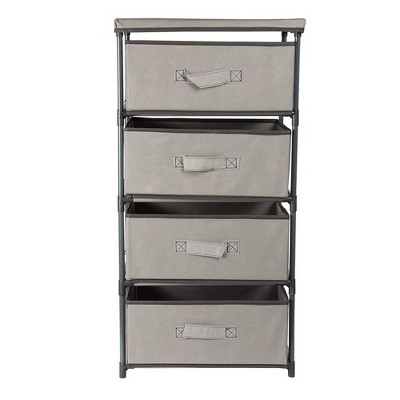 Juvale 4 Tier Storage Drawer Organizer for Closet or Dorm, Dresser for Clothes, Linens, Light Gray 16.5x13 in