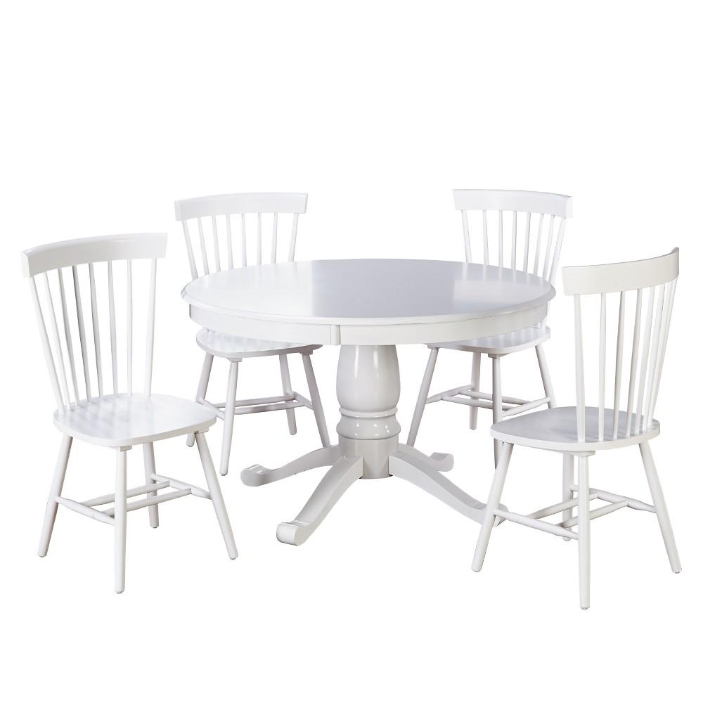 5pc Kale Pedestal Dining Set - White - Buylateral