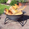 """Sunnydaze Outdoor Camping or Backyard Round Cast Iron Rustic Fire Pit Bowl on Stand - 24 - Dark Gray"""" - image 2 of 4"""