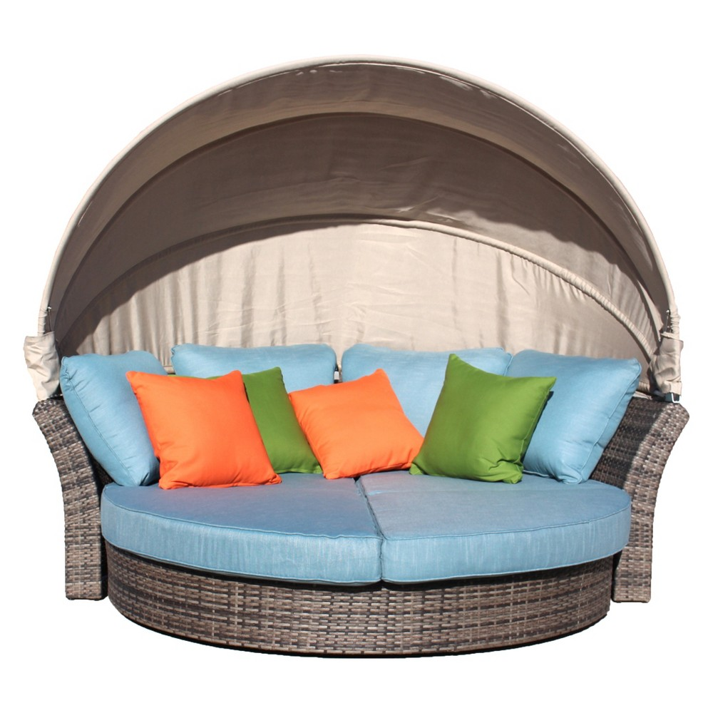 Eclipse Outdoor Expandable Oval Daybed with Canopy - Taupe (Brown) - Courtyard Casual
