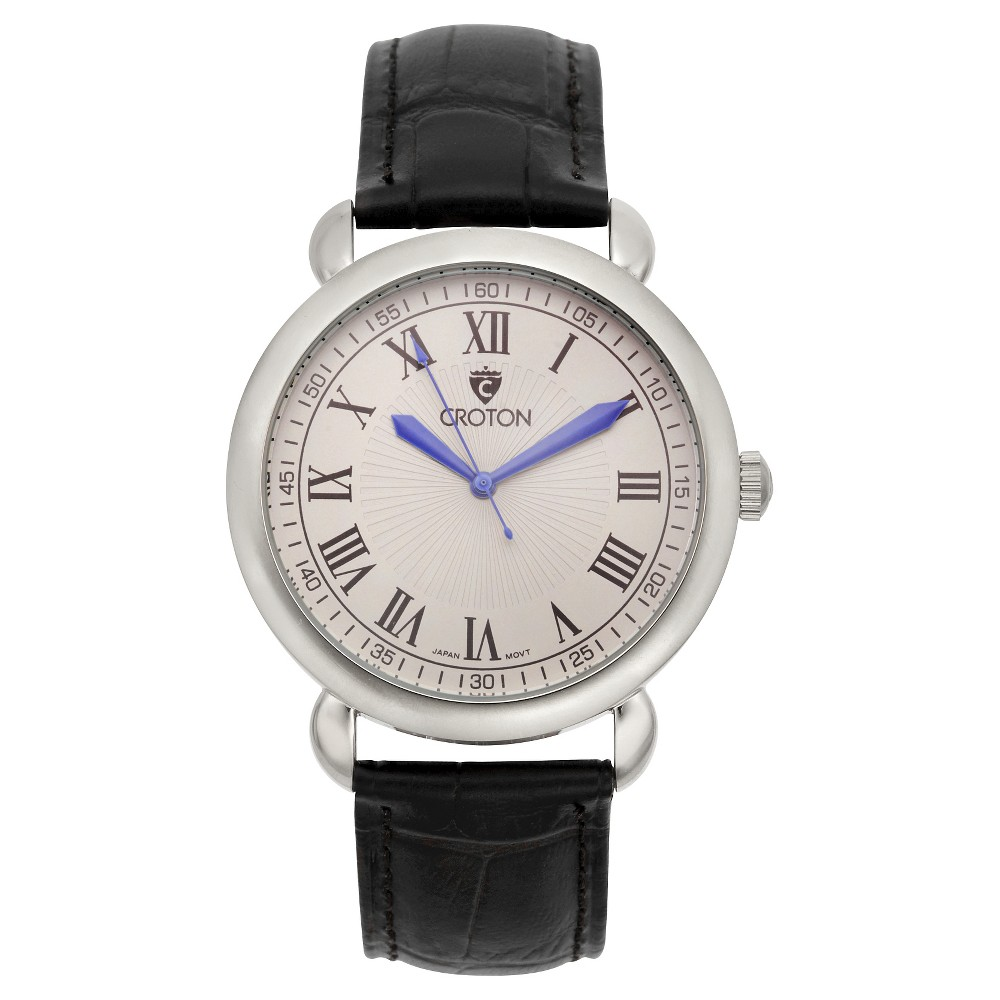 Men's Croton Analog Watch - Black With Antique Silver Dial