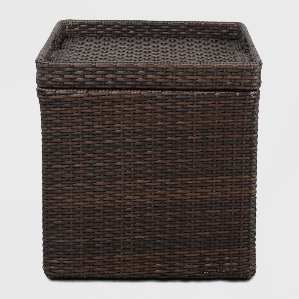 Wicker Storage Patio Accent Table Brown Threshold 8482